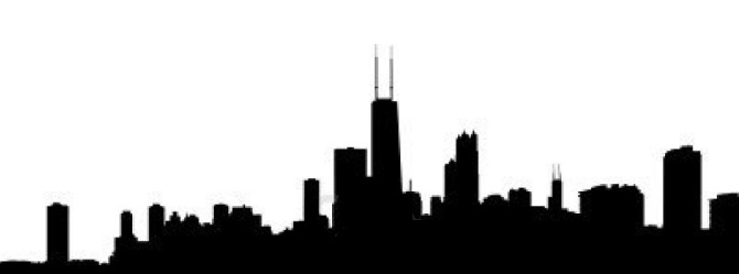 5091085-chicago-skyline-reflected-with-ripples-illustration